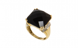 Inel din aur 14K cu onix si diamante