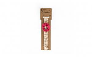 Bentita pentru copii, cu aplicatie florala, Roz