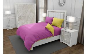 Lenjerie de pat matrimonial cu husa elastic pat si 4 huse perna patrata si mix culori, Duo Pink, bumbac satinat, gramaj tesatura 120 g mp, Roz Galben, 6 piese