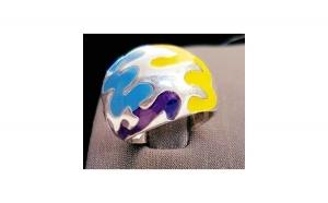 Inel din Argint cu email galben, violet și albastru - masura 50