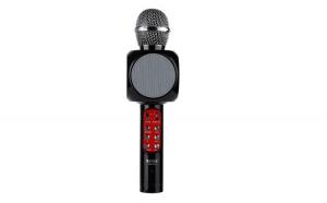 Set - Microfon Karaoke Wireless cu Bluetooth, Soundvox™ WS-1816 cu Boxa inclusa si Joc de Lumini, Negru + Suport Universal de Birou Pentru Tablete sau Telefoane