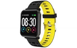 Smart Watch T-FIT 210 HB, negru galben, puls, tensiune, Trevi