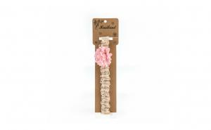 Bentita pentru copii, cu aplicatie florala, Roz Pal
