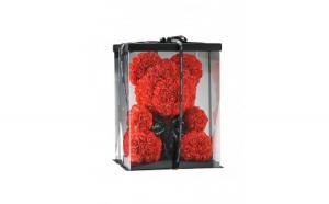 Ursulet din trandafiri in cutie, 40cm, rosu,