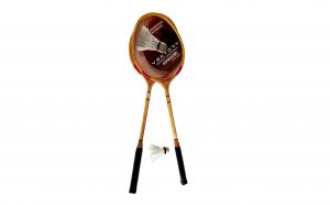Rachete badminton din lemn cu fluturas, set 3 piese