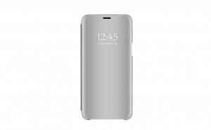 Husa compatibila Samsung Galaxy J6 2018 Book Clear View Standing Cover (Oglinda) Argintiu Silver