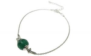 Bratara argint cu agata verde fatetata