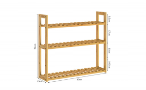 Raft cu 3 niveluri Bambus 54 x 60 x 15