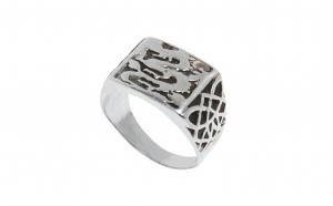 Inel din argint 925, cu dragoni, unisex, circumferinta 65 mm, IAG239