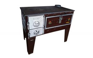Soba pe lemne cu plita si cuptor ZLN-5655. Putere calorica 5.5 kw. Evacuare dreapta. Diametru evacuare 130 mm