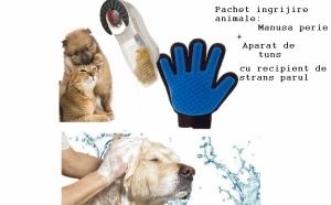 Pachet ingrijire animale: aparat pentru colectare par + manusa perie