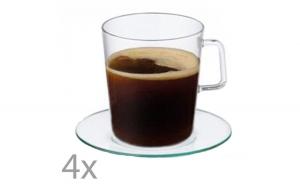 Set 4 cesti cu 4 farfurii, cescute espresso, cafea, 100 ml, sticla termorezistenta, Simax, transparent