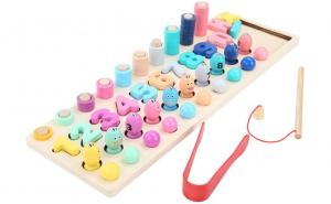 Joc educativ Montessori 4 in 1, multimi/numaratoare cerculete colorate, pescuit magnetic, joc indemanare bile, puzzle cifre, lemn bine finisat, lacuri ecologice