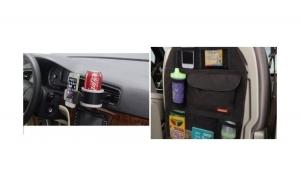 Set Suport auto pentru telefonul mobil, cu recipient pentru bauturi + Organizator scaun auto