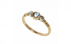 Inel din aur 14K cu safir si 2 diamante