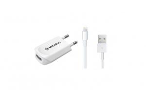 Incarcator pentru iPhone, cu cablu universal Travel MoxCLL, 5.0 V, 1.0 A, slot USB, adaptor, alb