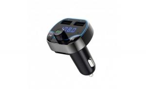 Modulator FM Techstar® T24  Wireless  Bluetooth 4.2  Microfon Integrat  Quick Charge  Slot MicroSD  Voltaj Baterie