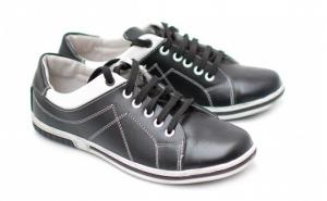 Pantofi barbati sport - casual din piele naturala Negri ( Cod: ADNOUBOXN ) - Made in Romania, la doar 147 RON in loc de 299 RON