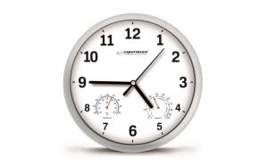 Ceas de perete cu termometru si higrometru, diametru 25 cm, Alb Lyon