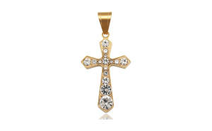 Pandantiv placat cu aur de 24K, model Cruce cu Cristale