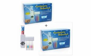 Set 2 x dozator pasta de dinti + Cadou suport pentru 5 periute