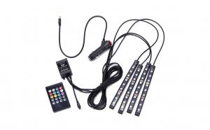 Set 4 benzi 9 LED ambientale pentru auto cu telecomanda
