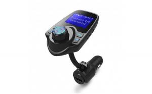 Modulator FM Techstar® T22  Wireless  Bluetooth 4.2  Microfon Integrat  Quick Charge  Afisare Voltaj  Slot MicroSD  AUX
