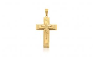 Pandantiv placat cu aur de 24K, model Iisus pe cruce