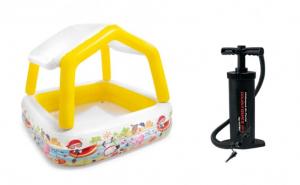 Piscina gonflabila pentru copii, cu acoperis, INTEX + pompa de mana INTEX