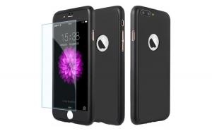 Husa Apple iPhone 8 Plus Flippy Full Cover 360 Negru + Folie de protectie