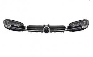 Ansamblu Faruri 3D Semnal LED + Grila compatibil cu VW Golf 7 VII (2012-2017) R Design Argintiu