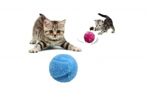 Jucarie rotativa cu 4 huse pufoase, colorate pentru pisici