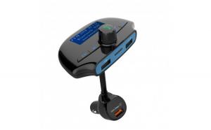 Modulator FM Techstar® T36  Wireless  Bluetooth 3.0  Microfon Integrat  Quick Charge 3.0  Afisare Voltaj  Slot MicroSD