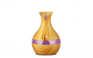 Difuzor aromaterapie, Umidificator cu led 7 culori, tip vaza, 300 ml, Stejar Deschis