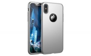 Husa Apple iPhone X Flippy Full Cover 360 Argintiu + Folie de protectie