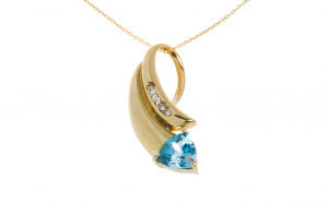 Lant cu pandantiv din aur 14K, blue topaz si diamante