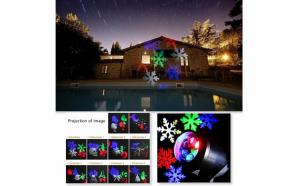 Proiector laser de exterior, din aluminiu, cu imagini diferite: Craciun, Halloween, Aniversari, Inimioare