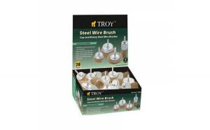 Set perii de sarma circulare si tip cupa cu tija Troy T27700, 25-75 mm, 20 piese