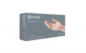 Set de 100 manusi de unica folosinta Mercator, vinyl  , marimea S transparente