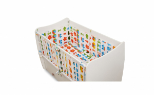 Set lenjerie de pat pentru copii, bumbac 100%, 5 piese, 2 aparatoare laterale, multicolor