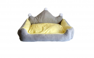 Culcus pentru animale cu salteluta detasabila, lavabil, galben cu gri, 60 x 45 x 30 cm