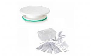Set decorare torturi/prajituri: platou rotativ + kit decorare 100 piese