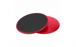 Discuri fitness alunecare 17.8cm, Discuri Fitness glisante, Rosu/negru, 2 buc