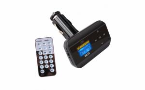 Modulator FM cu ecran LCD, functie MP3, port USB - AUX, telecomanda inclusa, negru