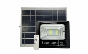 Proiector led 40W Rezistent La Apa cu panou solar Lumina Rece + Telecomanda