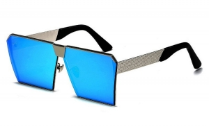 Ochelari de soare Rectangular Plat Oglinda Albastru - Argintiu