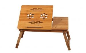 Masuta laptop pliabila din lemn de bambus, dotata cu 2 coolere si sertar