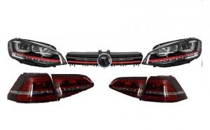Ansamblu Faruri 3D Semnal LED, Stopuri Full LED si Grila compatibil cu VW Golf 7 VII (2012-2017) R20 GTI Design Rosu