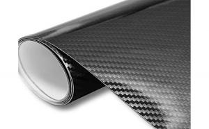Rola folie carbon EVO 3D neagra cu tehnologie de eliminare a bulelor de aer 10 m X 1.5m