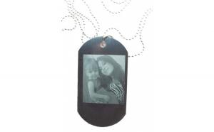 Lantisor colier personalizat metalic cu placuta, pandantiv stil soldat, gravat cu poza si textul tau